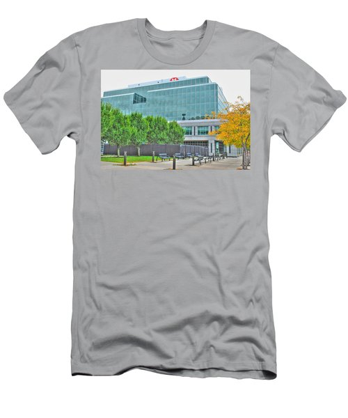 Men's T-Shirt (Slim Fit) featuring the pyrography Opposing Trees Of Season by Michael Frank Jr