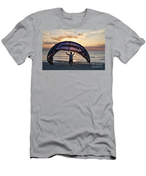 Putting Away The Kite At Clam Pass At Naples Florida Men's T-Shirt (Athletic Fit)