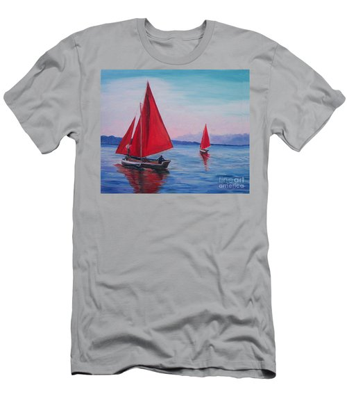 Men's T-Shirt (Slim Fit) featuring the painting Red Sails On Irish Coast by Julie Brugh Riffey