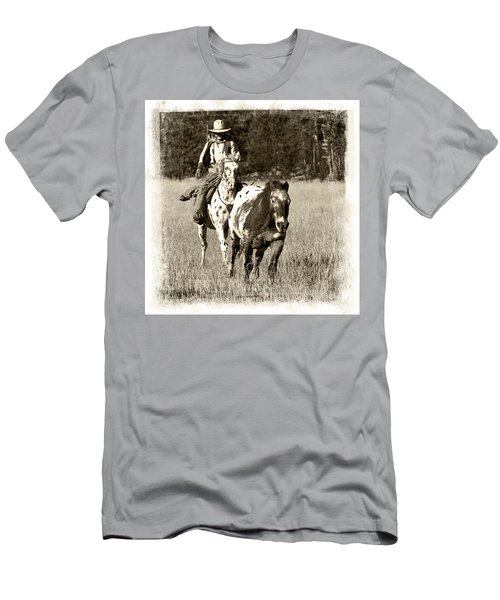 Men's T-Shirt (Slim Fit) featuring the photograph Round-up by Jerry Fornarotto