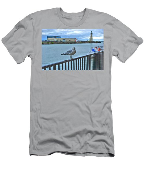 Men's T-Shirt (Slim Fit) featuring the photograph Seagull At Lighthouse by Michael Frank Jr