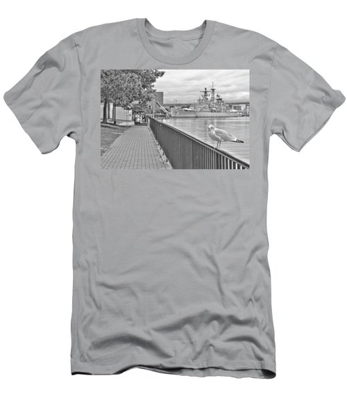 Men's T-Shirt (Slim Fit) featuring the photograph Seagull At The Naval And Military Park by Michael Frank Jr
