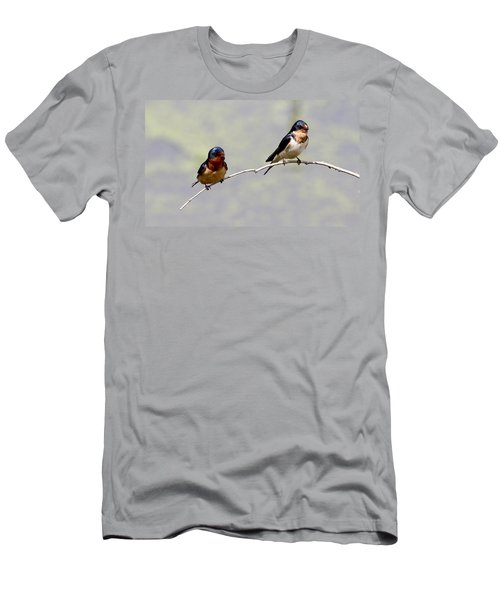 Men's T-Shirt (Slim Fit) featuring the photograph Sharing A Branch by Elizabeth Winter