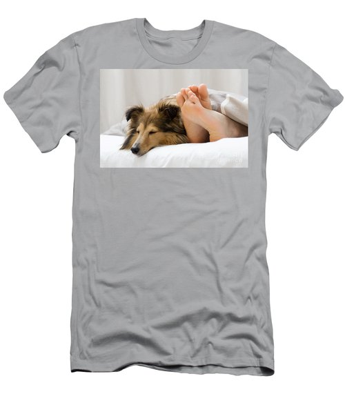 Sheltie Sleeping With Her Owner Men's T-Shirt (Athletic Fit)