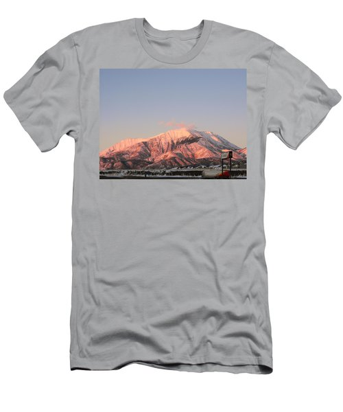 Snowy Mountain At Sunset Men's T-Shirt (Athletic Fit)