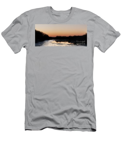 Men's T-Shirt (Slim Fit) featuring the photograph Sunset Over The Republican River by Art Whitton