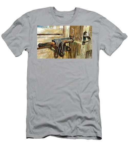 Men's T-Shirt (Athletic Fit) featuring the painting Unlatched by Andrew King