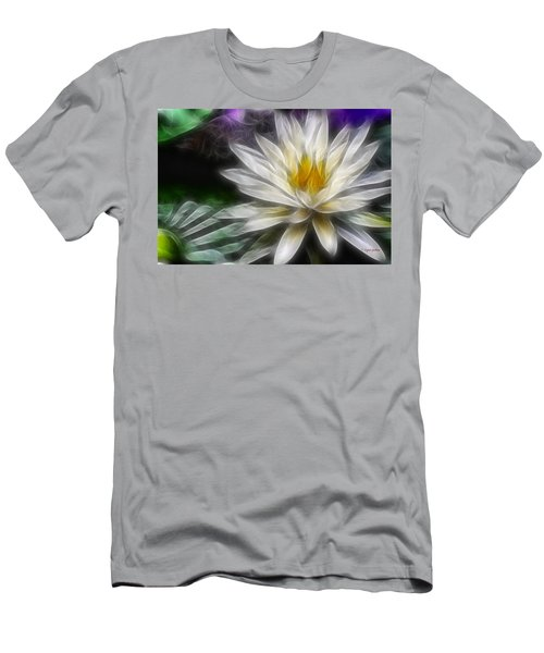 Men's T-Shirt (Slim Fit) featuring the digital art Waterlily In Pseudo-fractal by Lynne Jenkins