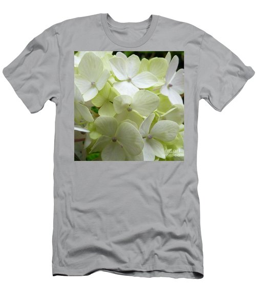 White Hydrangea Men's T-Shirt (Slim Fit) by Barbara Moignard