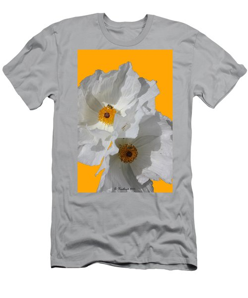 White Poppies On Yellow Men's T-Shirt (Athletic Fit)