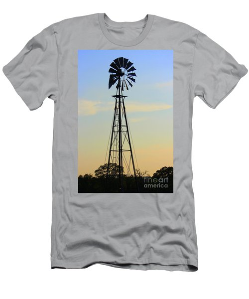 Men's T-Shirt (Slim Fit) featuring the photograph Windmill At Dusk by Kathy  White