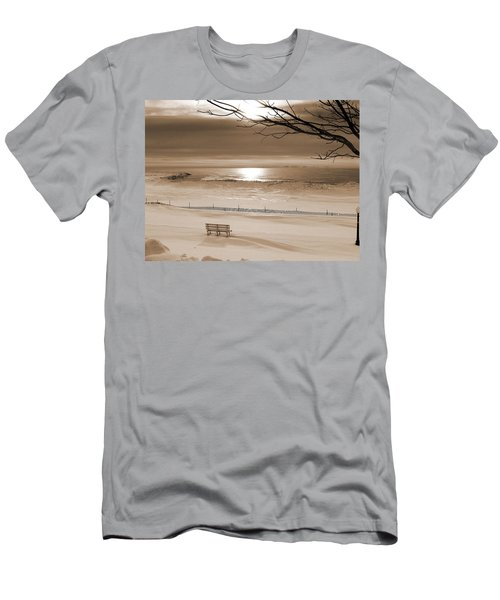 Winter Beach Morning Sepia Men's T-Shirt (Athletic Fit)