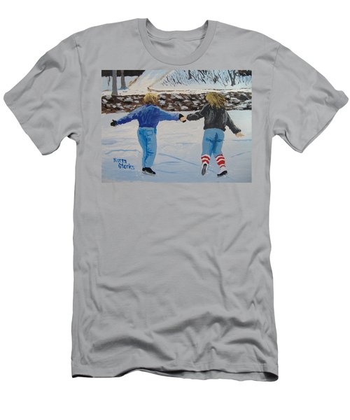 Men's T-Shirt (Slim Fit) featuring the painting Winter Fun by Norm Starks