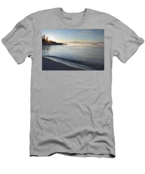 Winter Mist On Lake Superior At Sunrise Men's T-Shirt (Athletic Fit)