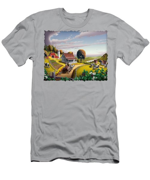 Appalachian Blackberry Patch Rustic Country Farm Folk Art Landscape - Rural Americana - Peaceful Men's T-Shirt (Slim Fit) by Walt Curlee