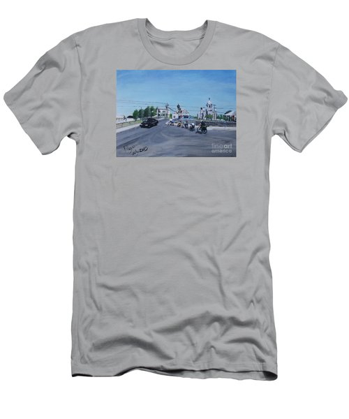 Family Cycling Tour Men's T-Shirt (Slim Fit) by Francine Heykoop