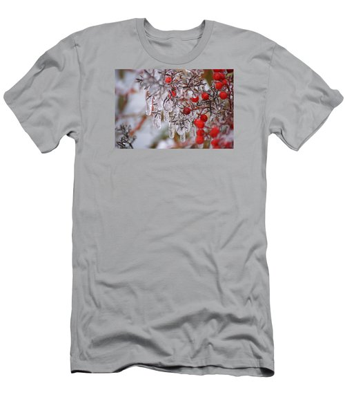 Men's T-Shirt (Slim Fit) featuring the photograph  Holiday Ice by Heidi Poulin