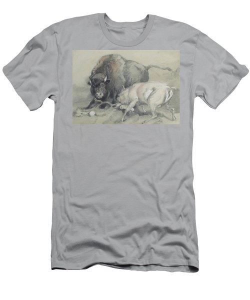A Stag Challenging A Bison Men's T-Shirt (Athletic Fit)