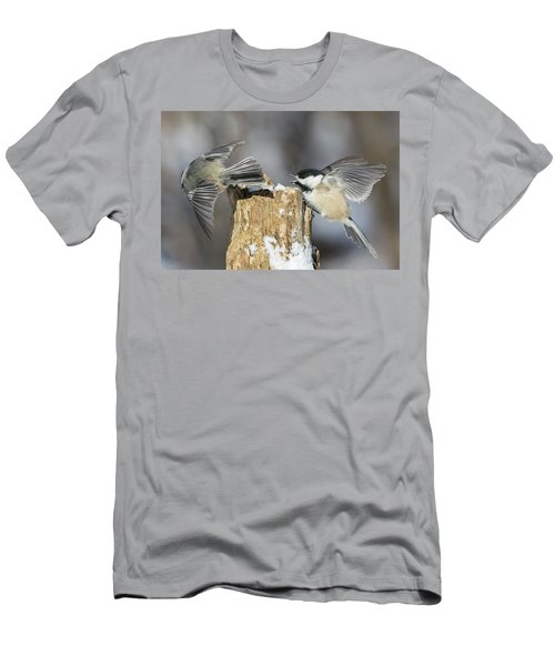 Men's T-Shirt (Slim Fit) featuring the photograph Black-capped Chickadee In Winter by Mircea Costina Photography