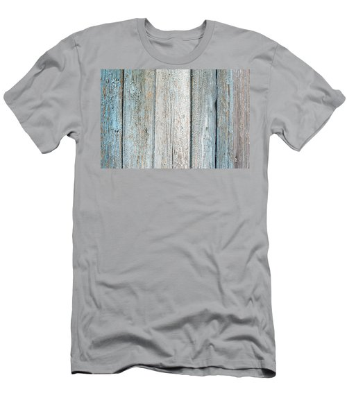 Men's T-Shirt (Slim Fit) featuring the photograph Blue Fading Paint On Wood by John Williams