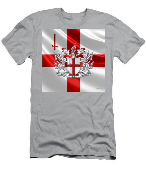City Of London - Coat Of Arms Over Flag  Men's T-Shirt (Athletic Fit)