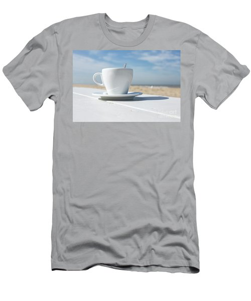 Men's T-Shirt (Slim Fit) featuring the photograph Coffee On The Beach by Patricia Hofmeester