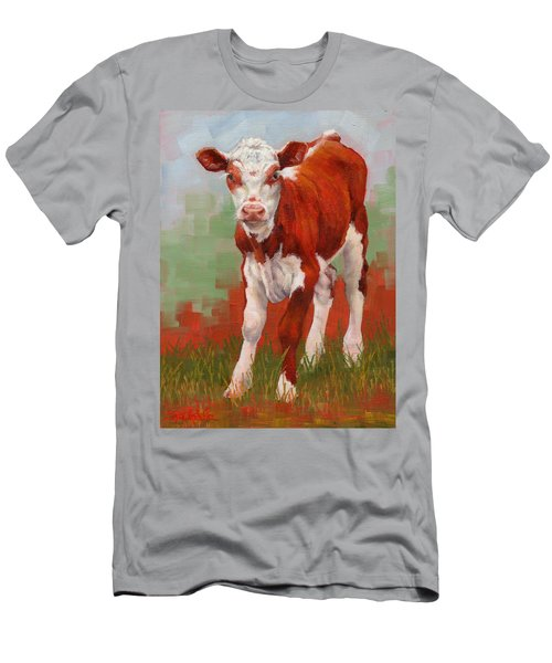 Men's T-Shirt (Slim Fit) featuring the painting Colorful Calf by Margaret Stockdale