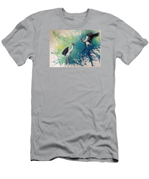 Men's T-Shirt (Slim Fit) featuring the painting Dance Of The Brolgas - Original Sold by Therese Alcorn