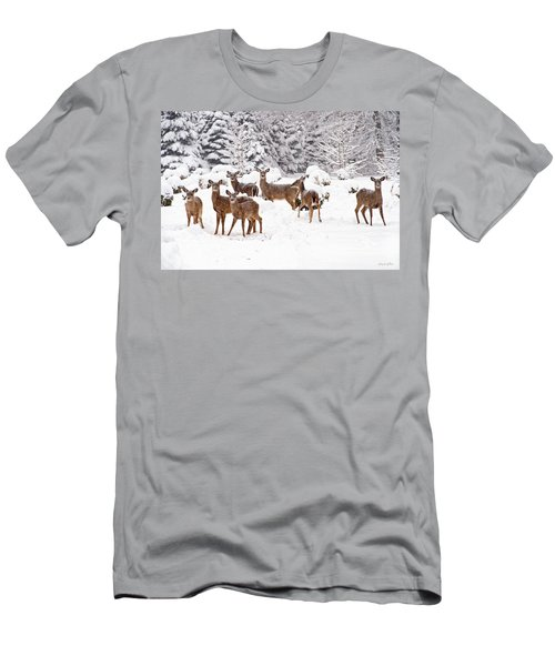 Men's T-Shirt (Athletic Fit) featuring the photograph Deer In The Snow by Angel Cher