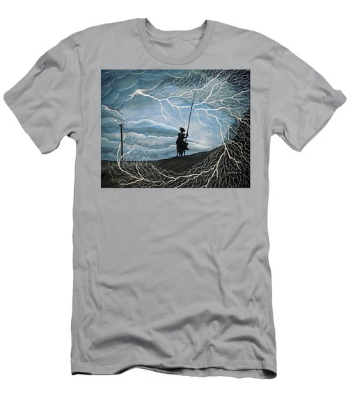 Men's T-Shirt (Slim Fit) featuring the painting Don Quijote by Edwin Alverio