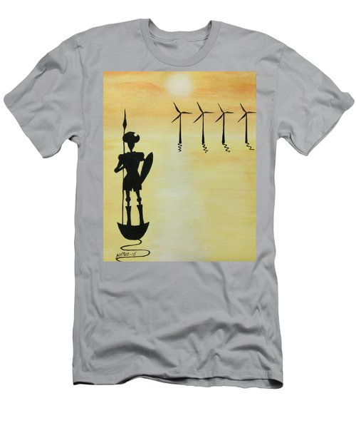 Men's T-Shirt (Slim Fit) featuring the painting Don Quixote by Edwin Alverio