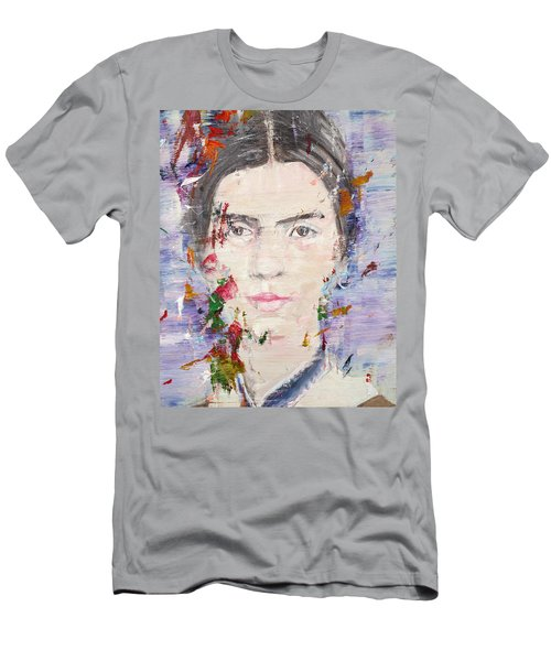 Men's T-Shirt (Slim Fit) featuring the painting Emily Dickinson - Oil Portrait by Fabrizio Cassetta