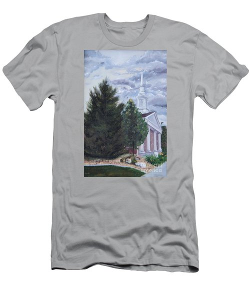 Men's T-Shirt (Slim Fit) featuring the painting Hale Street Chapel by Jane Autry
