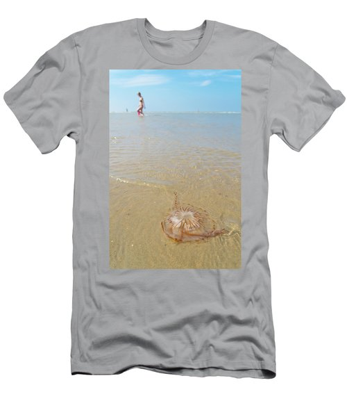 Men's T-Shirt (Slim Fit) featuring the photograph Jellyfish On Beach by Hans Engbers