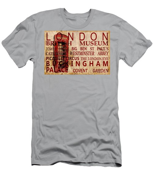 London Vintage Poster Red Men's T-Shirt (Athletic Fit)