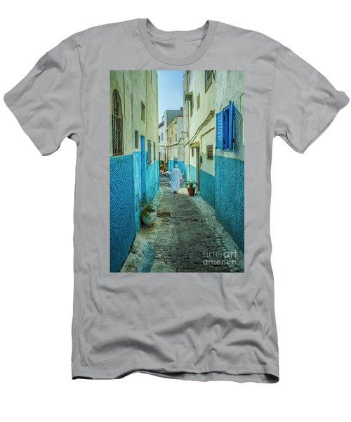 Man In White Djellaba Walking In Medina Of Rabat Men's T-Shirt (Athletic Fit)