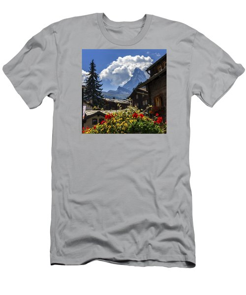 Matterhorn And Zermatt Village Houses, Switzerland Men's T-Shirt (Athletic Fit)