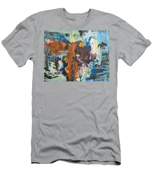 Mixed Media Cow Painting Men's T-Shirt (Athletic Fit)