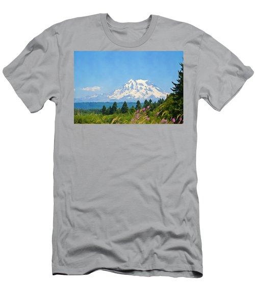 Mount Rainier Watercolor Men's T-Shirt (Athletic Fit)