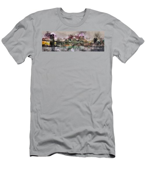 New York City Skyline Watercolor  Men's T-Shirt (Athletic Fit)