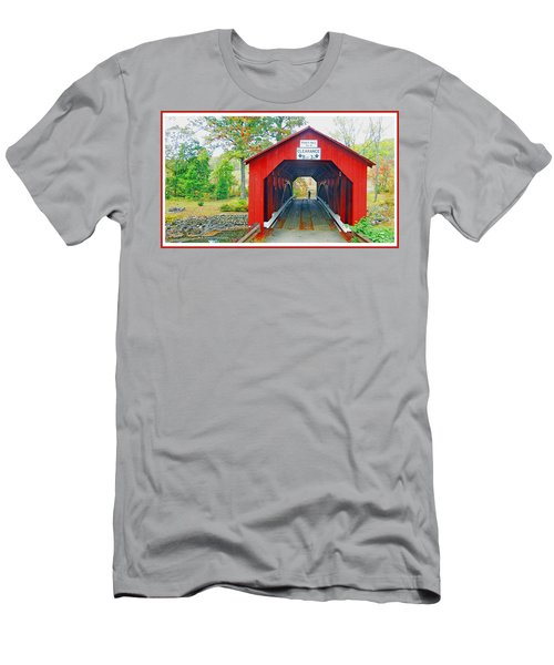 Parr's Mill Covered Bridge, Columbia County, Pennsylvania Men's T-Shirt (Slim Fit) by A Gurmankin