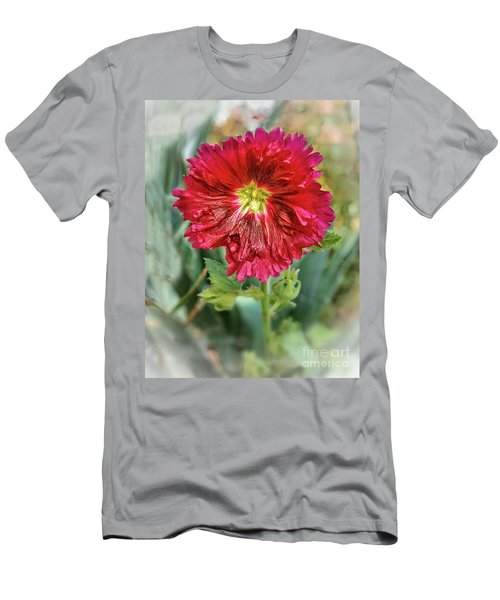 Red Hollyhock Men's T-Shirt (Athletic Fit)