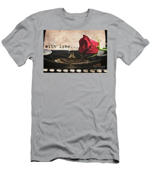 Red Rose On Typewriter Men's T-Shirt (Athletic Fit)