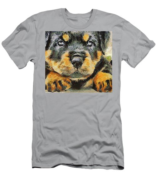 Rottweiler Puppy Portrait Men's T-Shirt (Slim Fit) by Tracey Harrington-Simpson
