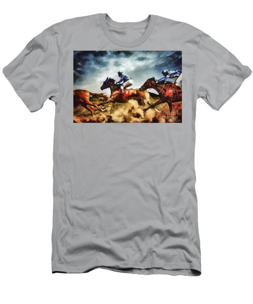 Men's T-Shirt (Athletic Fit) featuring the painting Running Horses Competition Jockeys In Horse Race by Dimitar Hristov
