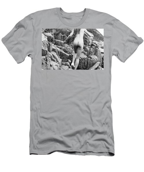 Running Nude Girl On Rocks Men's T-Shirt (Athletic Fit)