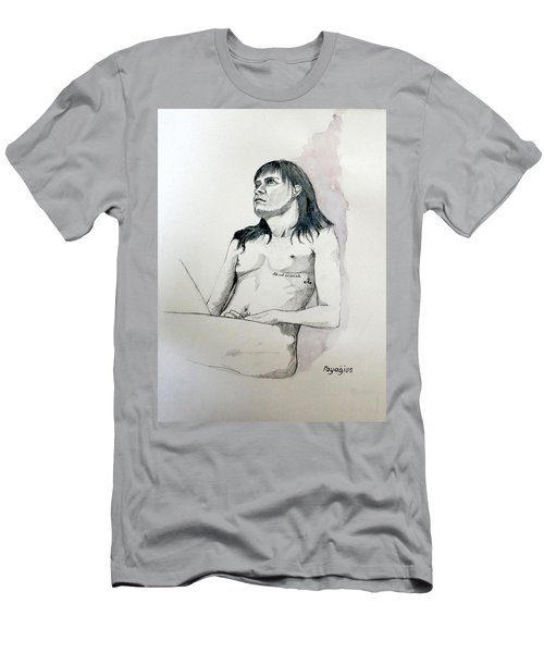 Men's T-Shirt (Slim Fit) featuring the painting Sketch For White Amber by Ray Agius