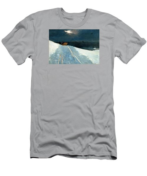Men's T-Shirt (Slim Fit) featuring the painting Sleigh Ride by Winslow Homer