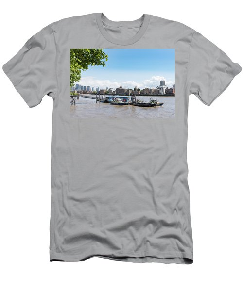 Men's T-Shirt (Athletic Fit) featuring the photograph Wapping River Police Waterloo Pier by Gary Eason