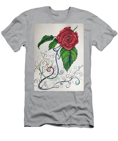 Whimsical Red Rose Men's T-Shirt (Athletic Fit)